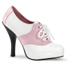 SADDLE-48 Baby Pink/White Faux Leather